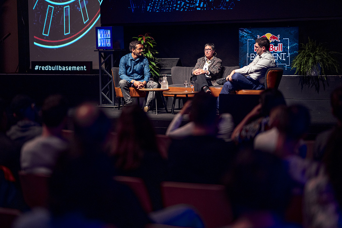 Discussion is seen at the Red Bull Basement Festival in Zurich, Switzerland on October 19, 2019